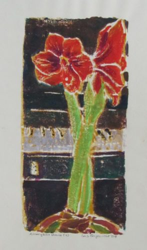 Amaryllis And Piano by Lois Borgenicht