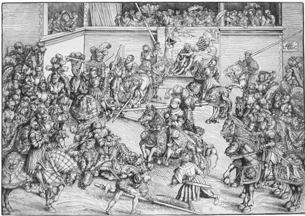 The Second Tournament With The Tapestry Of Samson by Lucas Cranach