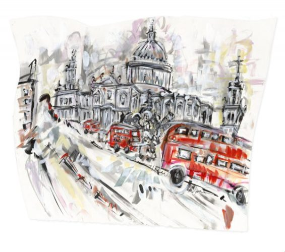 St Pauls Cathedral And The London Bus by Lucinda Burman
