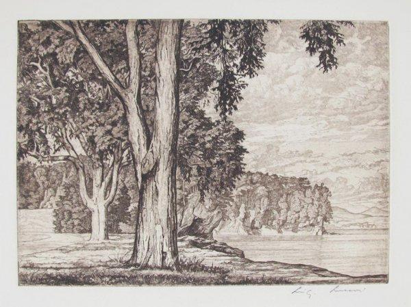 Elms By The Lake by Luigi Lucioni