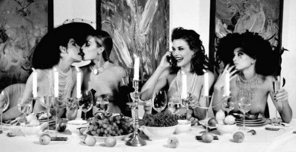 Four Woman At Dinner by Marc Lagrange
