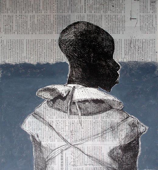 White Collar Black Man, Grey Newspaper by Marcelle Hanselaar