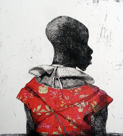 White Collar Black Man, Red Flower Jacket by Marcelle Hanselaar