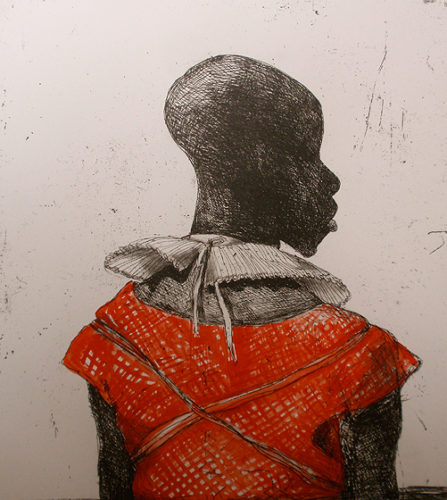 White Collar Black Man, Red Watercolour by Marcelle Hanselaar
