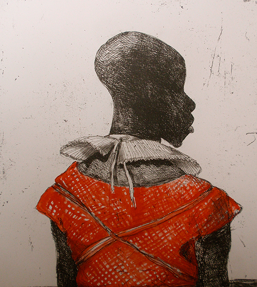 White Collar Black Man, Red Watercolour by Marcelle Hanselaar