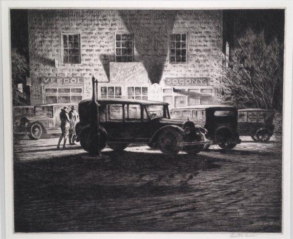 Shadows, Garage At Night by Martin Lewis at Harris Schrank Fine Prints (IFPDA)