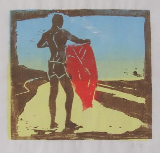 Man On The Beach With Blanket by McWillie Chambers