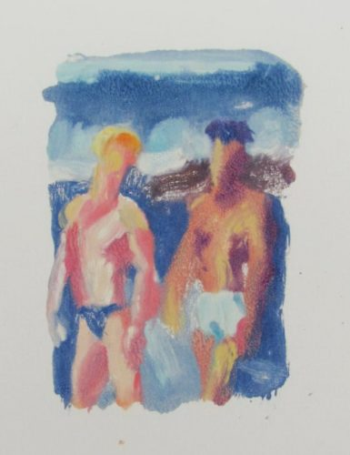 Two Men By Stormy Sea by McWillie Chambers