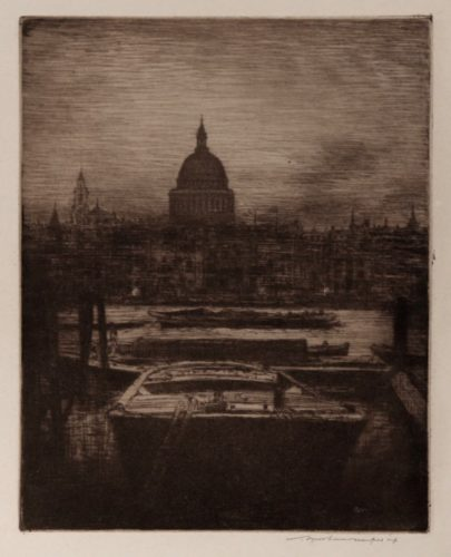 St. Pauls At Night With Barges In The Foreground by Mortimer Luddington Menpes