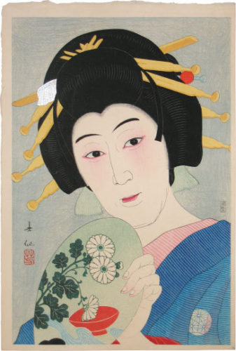 Creative Prints, Collected Portraits Of Shunsen: (supplement) Actor Ogami Baiko Vi As Aburaya Okon by Natori Shunsen at Natori Shunsen