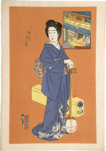 The Matsumoto Teahouse In Nakanomachi: The Geisha Chitosei by Natori Shunsen at Natori Shunsen