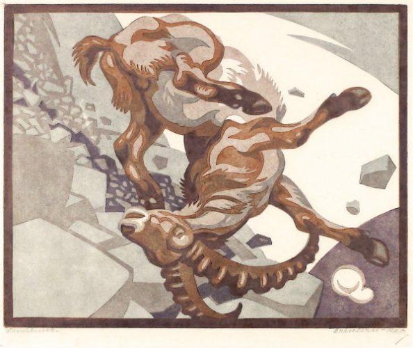 Stürzender Steinbock (falling Ibex) by Norbertine Bresslern Roth at Galerie Hochdruck