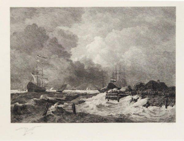 La Tempête (the Storm) [with] Brisants, Granville by Paul Huet