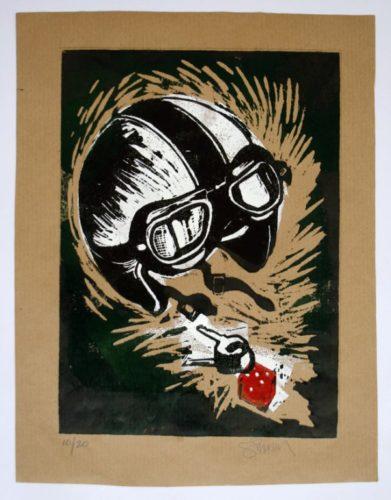 Crash Helmet (green And Black) by Paul Simonon