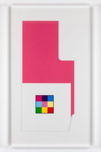 'radius-cut Pink White' by Peter Saville