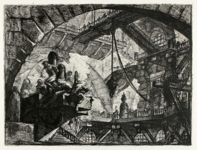 Prisoners On A Projecting Platform (Carceri d'Invenzione X) by Giovanni Battista Piranesi at