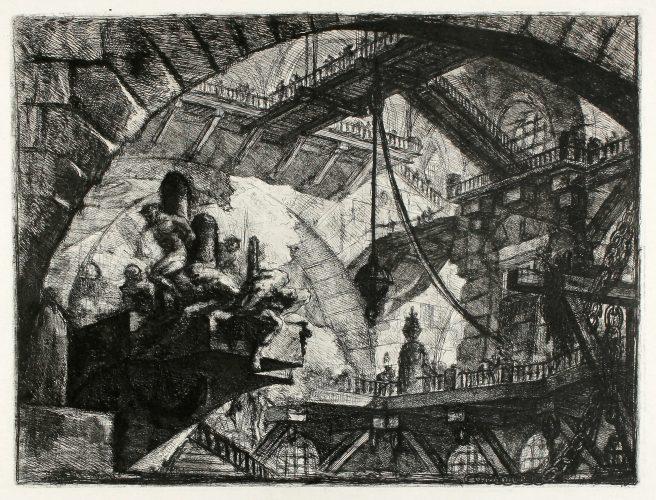 Prisoners On A Projecting Platform (Carceri d'Invenzione X) by Giovanni Battista Piranesi