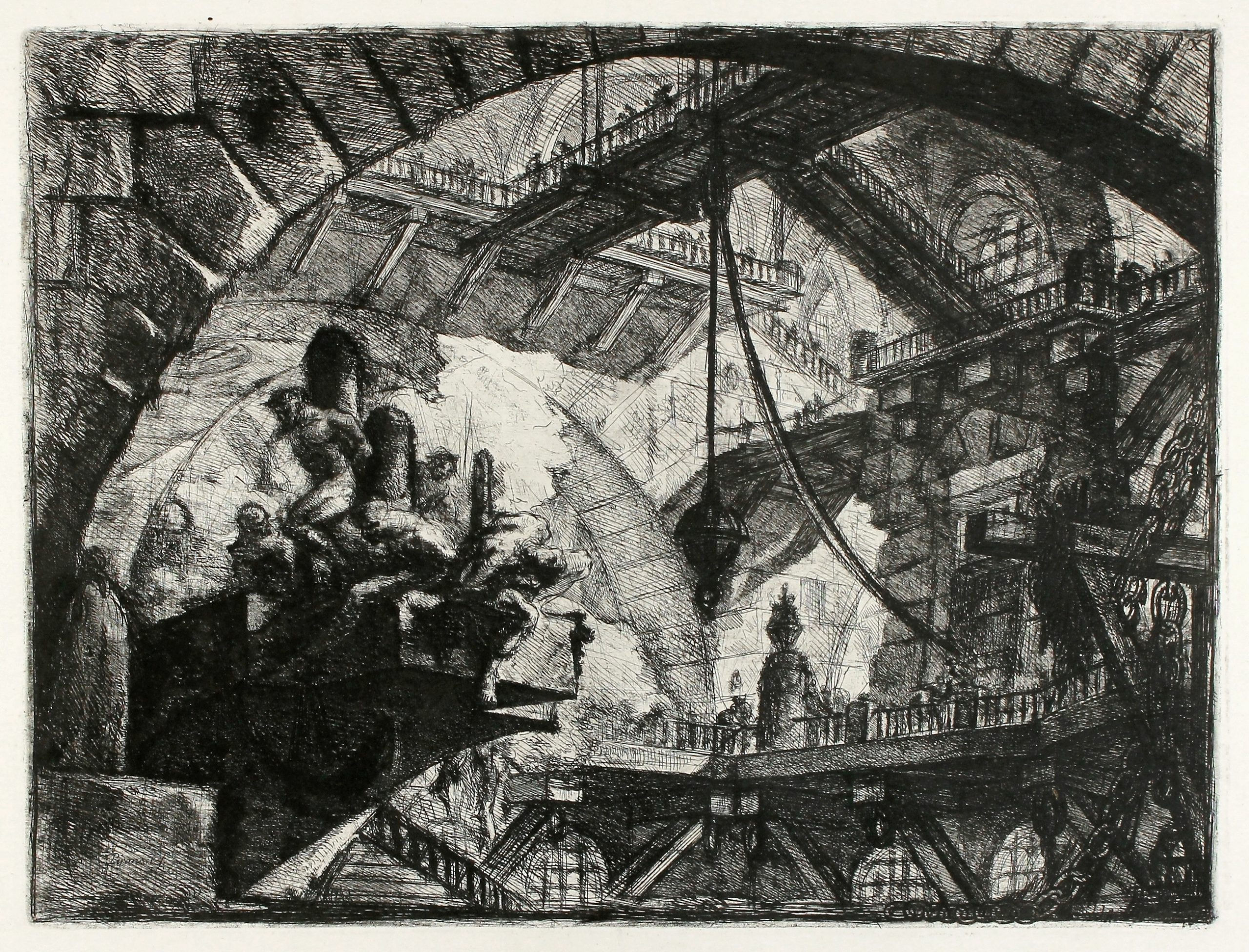 Prisoners On A Projecting Platform (Carceri d'Invenzione X) by Giovanni Battista Piranesi