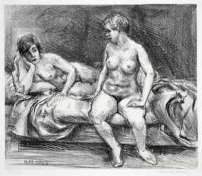 Two Models On A Bed by Reginald Marsh at Harris Schrank Fine Prints (IFPDA)