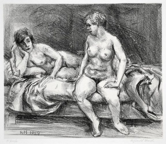 Two Models On A Bed by Reginald Marsh