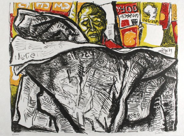 Uomo Con Giornale / Man With Newspaper by Renato Guttuso at