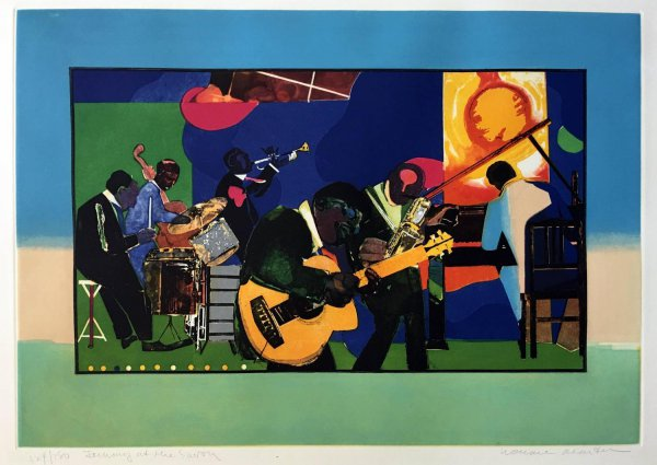 Jamming At The Savoy by Romare Bearden at