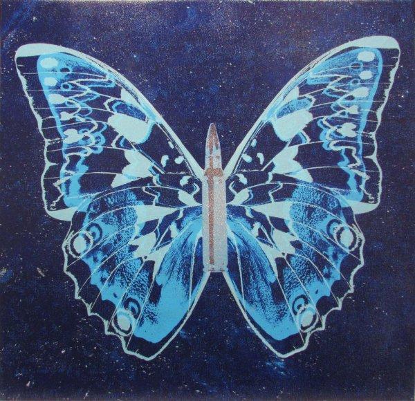Blue Butterfly On Blue by Rubem Robierb