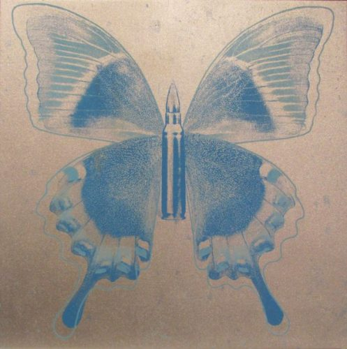 Blue Butterfly On Silver by Rubem Robierb at