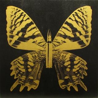 Gold Butterfly Iii On Black by Rubem Robierb