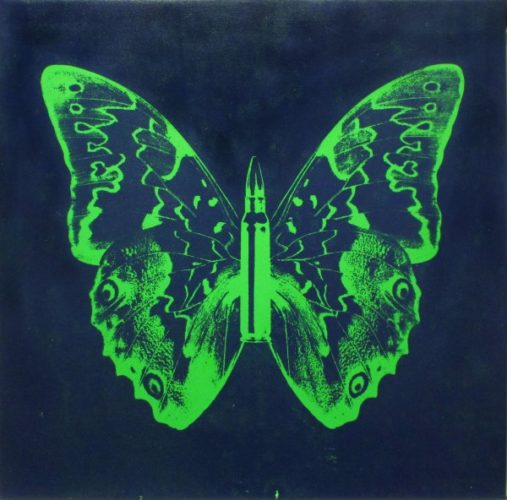 Green Butterly Ii On Blue by Rubem Robierb at