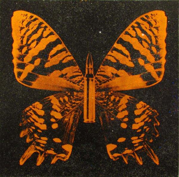 Orange Butterly On Black by Rubem Robierb