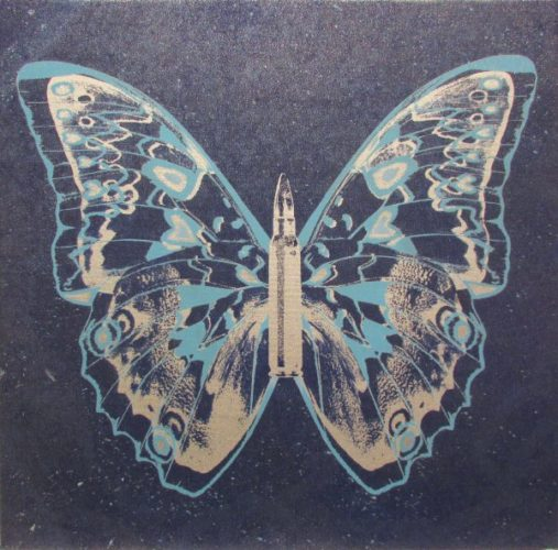 Silver- Light Blue Butterfly Ii On Denim Blue by Rubem Robierb at