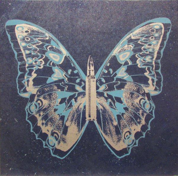 Silver- Light Blue Butterfly Ii On Denim Blue by Rubem Robierb