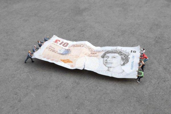 Tug Of War, Bank Of England, London by Slinkachu at