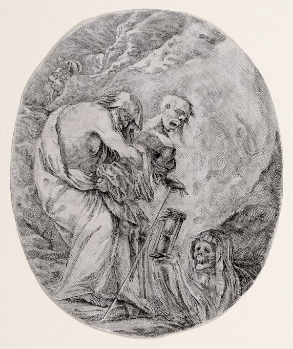 Death Dragging An Old Man To His Tomb by Stefano Della Bella