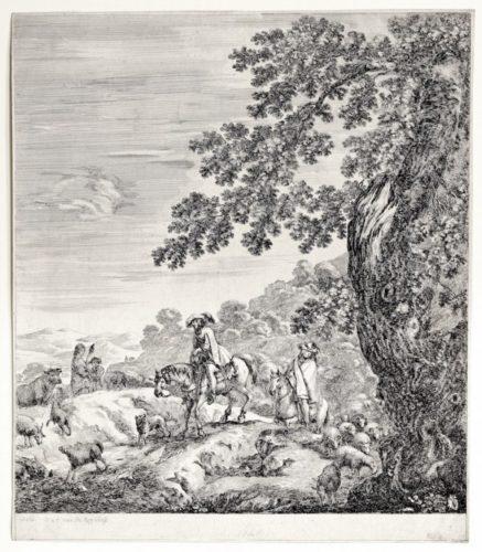 Two Men On Horseback by Stefano Della Bella