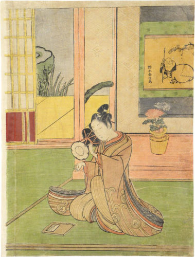 Young Man Playing A Ko-tsuzumi by Suzuki Harunobu at Scholten Japanese Art
