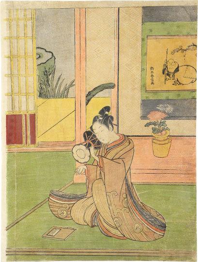 Young Man Playing A Ko-tsuzumi by Suzuki Harunobu