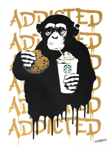 Fast Food Monkey – Starbucks Beige by THIRSTY BSTRD at Addicted Art Gallery