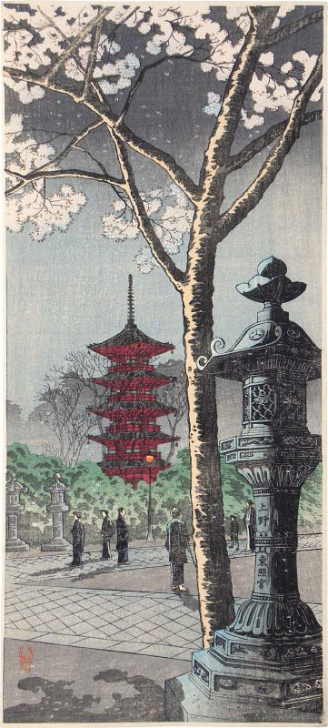 Cherry Blossoms At Ueno Toshogu Shrine by Takahashi Hiroaki (Shotei)