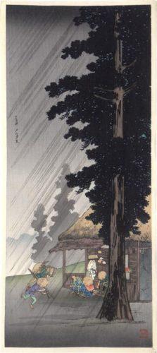 Evening Shower At Takaido by Takahashi Hiroaki (Shotei)