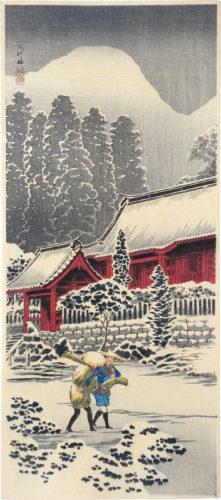 Hakone Shrine After The Snow by Takahashi Hiroaki (Shotei)