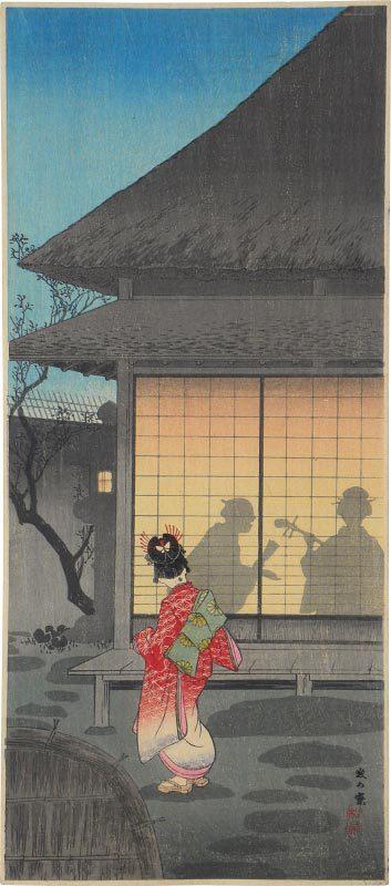 Tea Pavilion In The Night by Takahashi Hiroaki (Shotei)