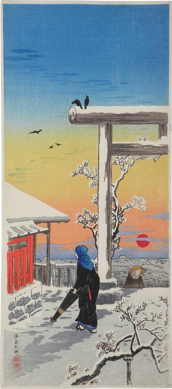 Yushima Tenjin Shrine In The Snow by Takahashi Hiroaki (Shotei)