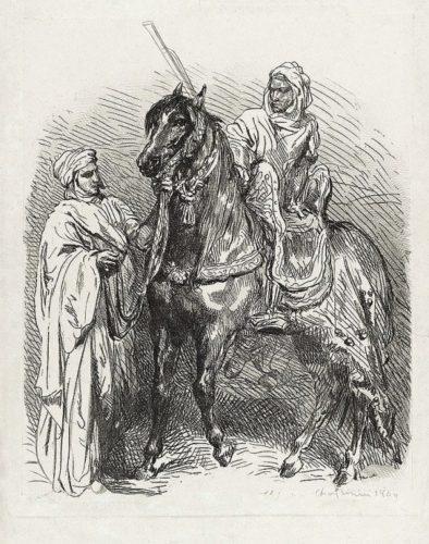 Arabe Montant En Selle / Cavalier Arabe Partant Pour La Guerre by Théodore Chassériau at