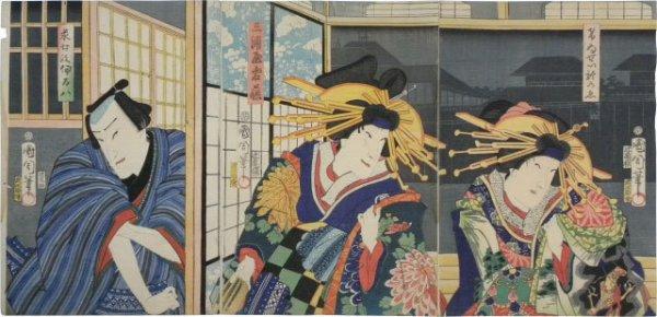 Actors Kawarazaki Kunitaro, Sawamura Tanosuke Iii, And Ichimura Kakitsu Iv In Keisei Soga Kuruwa Kag... by Toyohara Kunichika