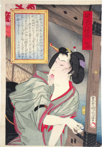 Mirroring Of The Flowering Manners And Customs: Enjoying The Evening Cool by Toyohara Kunichika