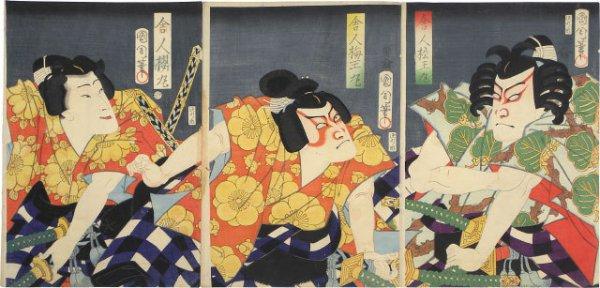 The Triplets Toneri Matsuomaru, Toneri Umeomaru, And Toneri Sakuramaru by Toyohara Kunichika at Toyohara Kunichika