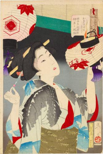 Thirty-two Aspects Of Customs And Manners: Observant, A Kyoto Waitress In The Meiji Era by Tsukioka Yoshitoshi at Tsukioka Yoshitoshi