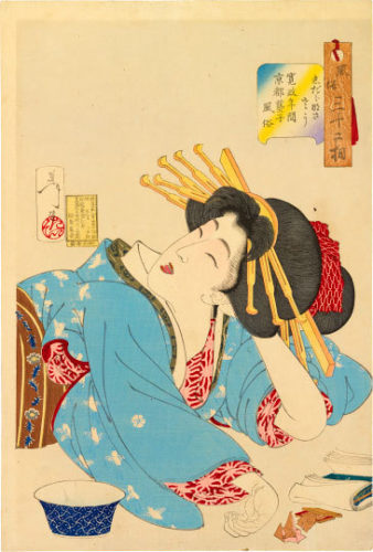 Thirty-two Aspects Of Customs And Manners: Relaxed, The Appearance Of A Kyoto Geisha During The Kans... by Tsukioka Yoshitoshi at Tsukioka Yoshitoshi